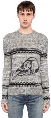 Saint Laurent Skull Wool Blend Jacquard Sweater