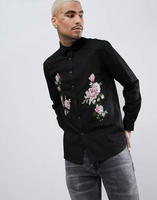 Asos DESIGN denim overshirt with floral emboirdery