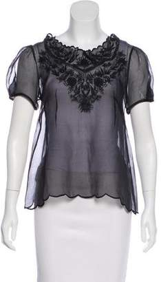 Isabel Marant Embroidered Short Sleeve Top