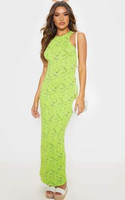 PrettyLittleThing Tan Leopard Print Jersey High Neck Maxi Dress