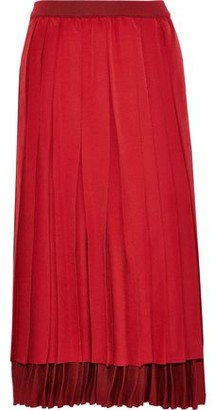 Agnona Layered Pleated Silk Crepe De Chine And Stretch-knit Midi Skirt