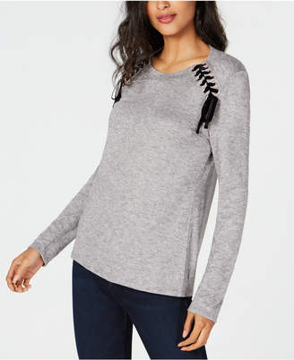 INC International Concepts I.n.c. Lace-Up Scoop-Neck Top