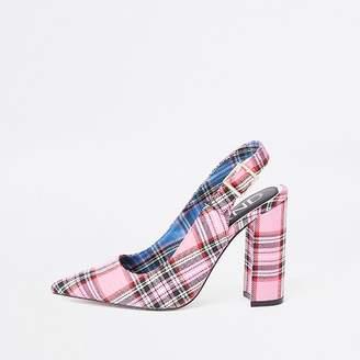 River Island Womens Pink tartan block heel sling back court shoes