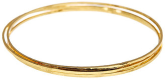 Argento Vivo 18K Gold Plated Sterling Silver Hammered Bangle Set - Set of 3 $112 thestylecure.com