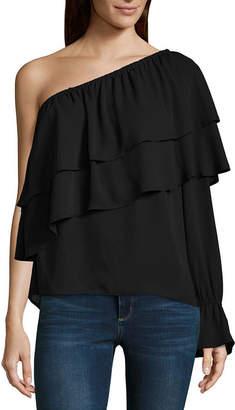 BELLE + SKY Bell Sleeve One Shoulder Blouse