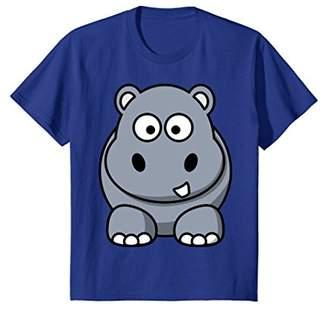 Cute Hippopotamus Cartoon Animal T-Shirt Hippo Rear On Back
