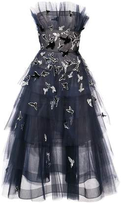 Oscar de la Renta strapless embroidered tiered dress