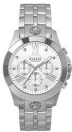 Versace Men's 44mm Chronograph Watch w/ Bracelet Strap, Steel/White