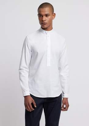 Emporio Armani Oxford Cotton Shirt With Mandarin Collar