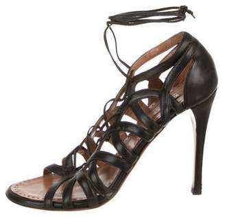 Alaia Lace-Up Cage Sandals