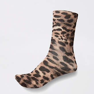 River Island Brown leopard print ankle socks