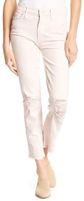 Mother High Waist Frayed Straight Leg Jeans