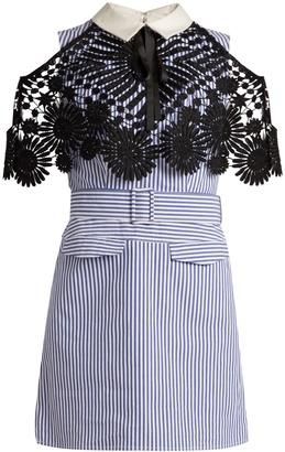 SELF-PORTRAIT Lace-cape striped cotton mini dress $460 thestylecure.com