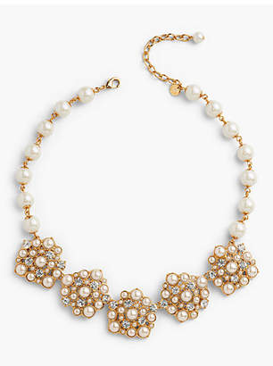 Talbots Pearl and Crystal Statement Necklace
