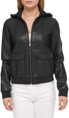 Levi's Hooded Faux Leather Bomber Jacket