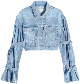 Jonathan Simkhai Tie Sleeve Cropped Denim Jacket