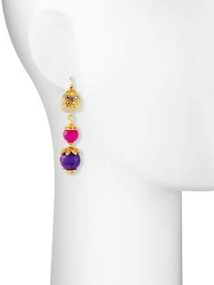Jose & Maria Barrera Linear Fuchsia & Purple Drop Earrings