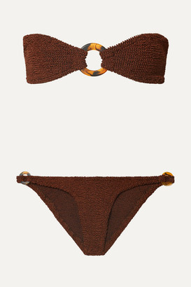 Hunza G - Gloria Embellished Seersucker Bandeau Bikini - Brown