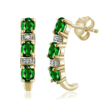 FINE JEWELRY Diamond Accent Green Chrome Diopside 14K Gold Over Silver Drop Earrings