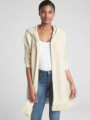 Gap Longline Fringe Hooded Cardigan Sweater