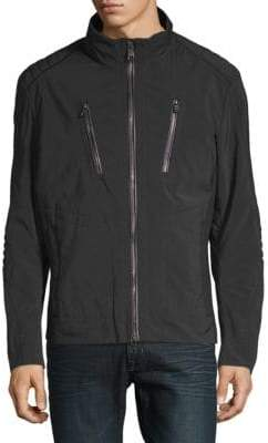 HUGO BOSS Leather-Trim Zip Jacket