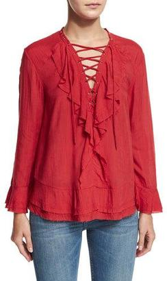 Iro Finley Ruffled Lace-Up Top, Poppy Red $295 thestylecure.com