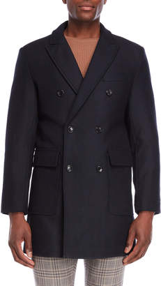 Michael Kors Navy Double-Breasted Twill Overcoat