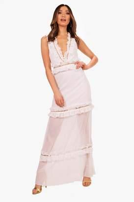 boohoo Boutique Ladder Trim Ruffle Maxi Dress