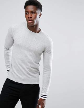 French Connection Crew Neck Knitted Sweater with Contrast Cuff