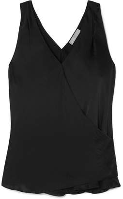 Vince Wrap-effect Crepe De Chine Tank - Black