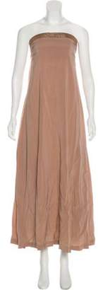 Brunello Cucinelli Monili-Trimmed Silk Dress Pink Monili-Trimmed Silk Dress