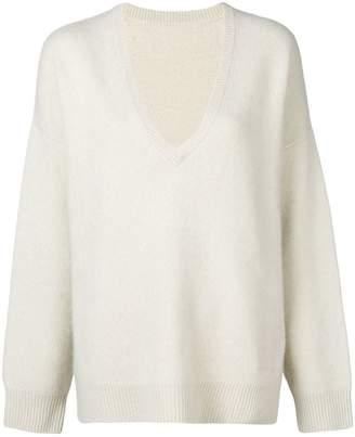 Frenckenberger knit oversized v neck sweater