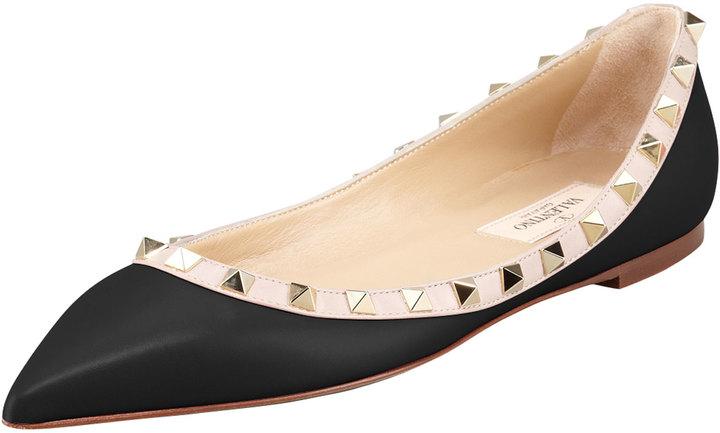 Valentino Rockstud Leather Ballerina Flat, Black