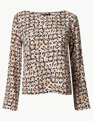 1ddf5b3395f M&S CollectionMarks and Spencer Animal Print Long Sleeve Shell Top