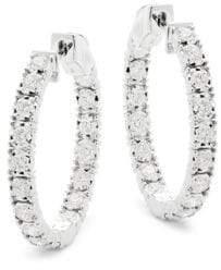 Saks Fifth Avenue Diamond and 14K White Gold Hoop Earrings