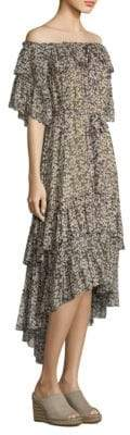 Zimmermann Off-The-Shoulder Silk Dress