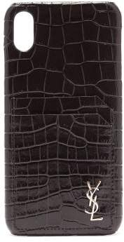 Saint Laurent Croc Effect Leather Iphone Xs Max Phone Case - Womens - Black