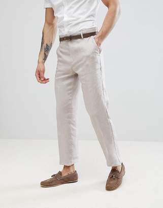 Benetton Wedding Regular Fit Linen Suit Pants In Stone