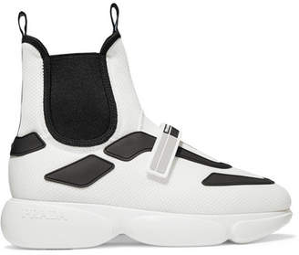 Prada Cloudbust Logo-embossed Rubber, Neoprene And Leather-trimmed Mesh High-top Sneakers - White