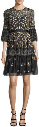 Needle & Thread Climbing Blossom Floral-Embroidered Cocktail Dress