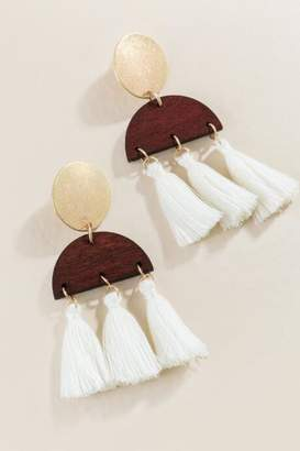 francesca's Kinsey Tassel Drop Earrings - Brown