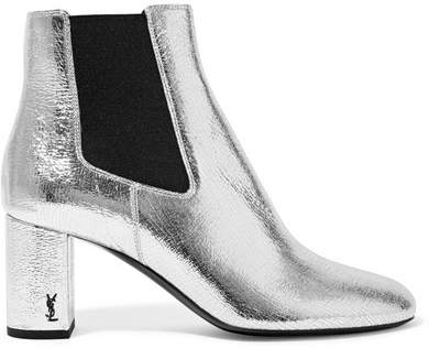 Saint Laurent - Loulou Metallic Textured-leather Ankle Boots - Silver