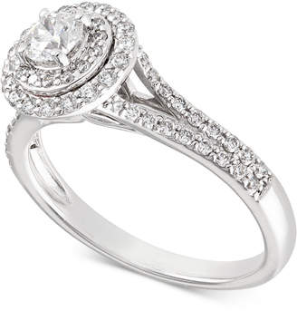 X3 Certified Diamond Halo Engagement Ring (3/4 ct. t.w.) in 14k White Gold