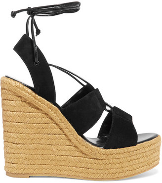 Saint Laurent - Suede Espadrille Wedge Sandals - Black $620 thestylecure.com