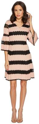 Taylor Fit and Flare Knit Jacquard Dress w/ Lace Inserts Women's Dress