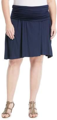 Three Dots Plus Fold-Over Jersey Skirt