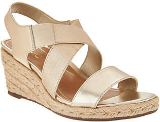 Vionic Leather Cross-Strap Espadrille Wedges- Ainsleigh