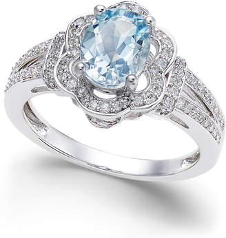 Macy's Aquamarine (9/10 ct. t.w.) and Diamond (1/3 ct. t.w.) Ring in 14k White Gold