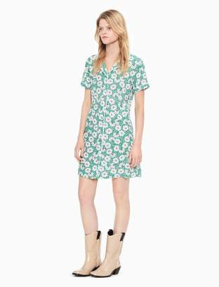 Calvin Klein floral button-down short sleeve dress