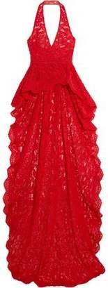 Reem Acra Corded Lace Halterneck Top